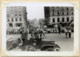 Crowds and military jeep in 1942 Army Day Parade