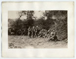 105th Regiment Engineers seeking shelter from enemy fire