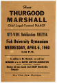Advertisement for NAACP Mobilization Meeting at Fisk University Featuring a Speech by Thurgood...