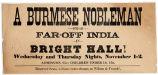 A Burmese nobleman from far-off India in Bright Hall!