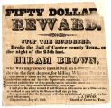 Fifty Dollar Reward for the Capture of Hiram Brown