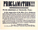 Proclamation to the Inhabitants of Clarksville, Tennessee, from Andrew H. Foote