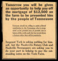 """Tomorrow You Will be Given an Opportunity to Help Pay Off the Mortgage,"" news article"