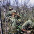 Soldiers of the 194th Military Police Company resting while on patrol