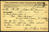 Telegram to Capt. Keller Anderson from First Lieut. John P. Spurr, both of the Tennessee National...