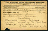 Telegram to Gen. H.H. Norman from Col. Cator Woolford, both of the Tennessee National Guard,...