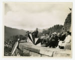 President Franklin D. Roosevelt speaking at the dedication of the Great Smoky Mountains National...