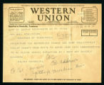 Telegram from Walter Chandler to Governor Hill McAlister