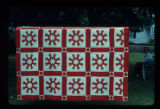 Red and white Star of the East variation quilt