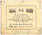 Fort Donelson House Historical Association certificate
