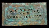 Civil War stencil for W. [Walter] C. Tuttle, Co. F, 4th Ill. Cav. Regt., USA