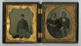 Tintype of Albert Haws Gray and Florinda Bell Gray and ambrotype of unidentified soldier