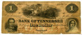 Confederate $1 bill drawn on Bank of Tennessee in Nashille