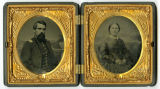 Encased tintype of unidentified captain and woman