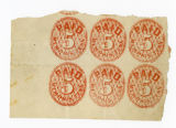 Five-cent temporary Confederate postage stamps