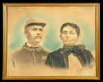 Crayon print of Abner and Ellie Arnold