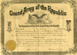 Grand Army of the Republic (GAR) certificate of J. W. Oliver