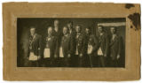 Cabinet card of nine brothers, including John Marshall Dickey