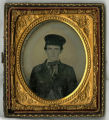 Unidentified ambrotype of young civilian male in wheel cap