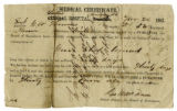 Medical Certificate of Sgt. George Thomas, Co. D, 52nd Tenn. Inf. Regt., CSA