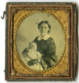 Tintype of Mary Austin Pitt and her deceased baby, John Pitt