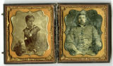 Double-cased tintype of Confederate soldier and woman