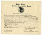Civilian Conservation Corps promotion certificate for Charles Edward Rutherford to Assistant Leader
