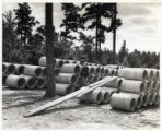 Concrete pipes manufactured by the Civilian Conservation Corps for use in forest road construction