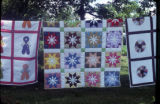 Overall Bill, Star, and Dresden Plate quilts