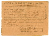 Jesse West certificate for retiring a soldier