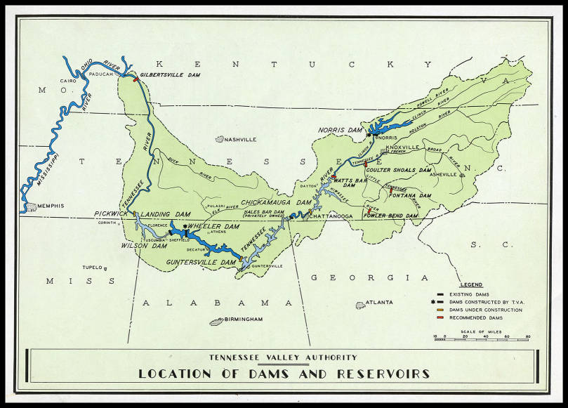 Tennessee Valley Authority location of dams and reservoirs map ...