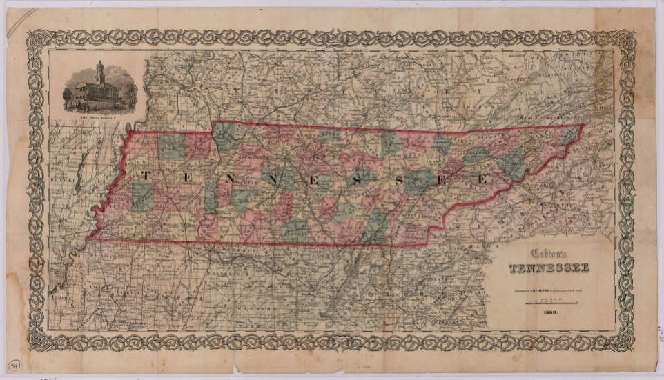 Colton\'s map of Tennessee (1860) - Maps at the Tennessee State ...