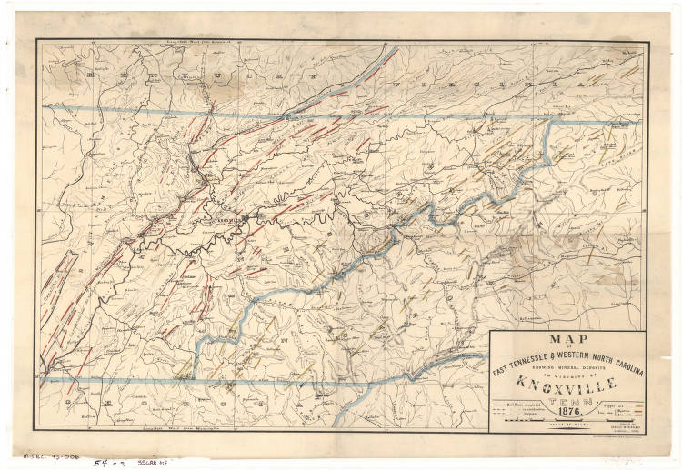 Map of East Tennessee and western North Carolina showing mineral ...