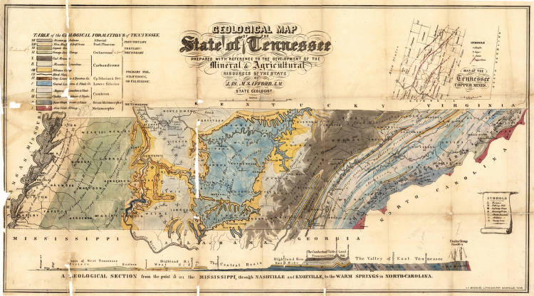Geological map of state of Tennessee (1855) - Maps at the Tennessee ...