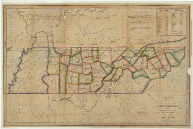 Map Of Tennessee 1818 Maps At The Tennessee State Library And