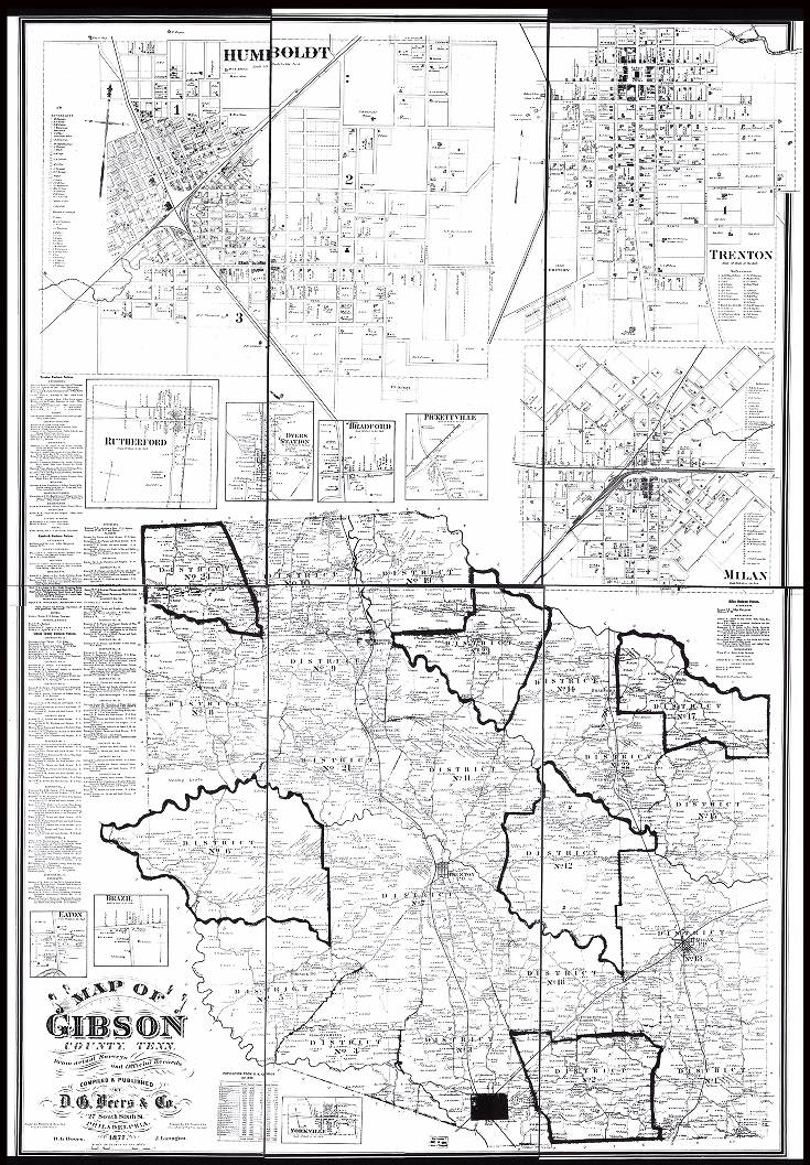Map Of Gibson County Tennessee From Actual Surveys And Official