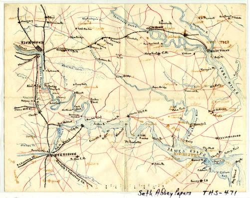 Civil War map of Virginia showing area around Richmond ...
