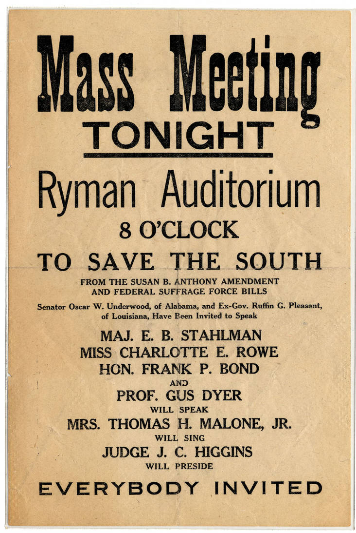Broadside Advertising An Anti Womens Suffrage Event At The Ryman Auditorium