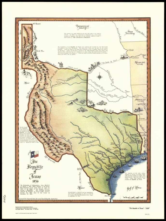 Texas Map 1836 The Republic of Texas, 1836   James K. Polk Collection   Tennessee